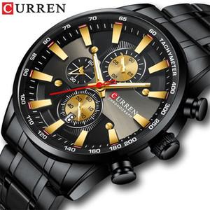 CURREN Black Gold Watch for Men Fashion Quartz Sports Wristwatch Chronograph Clock Date Watches Stainless Steel Male Watch 201208