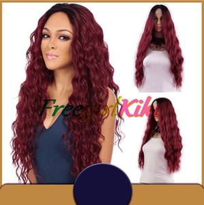 Fashion Red Color Auburn body weave synthetic wig Lace Front for lady woman in soft handfeeling and wholsale wig