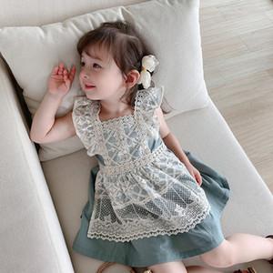 Baby Girls Princess Dress 2020 Summer New Korean Style Shirts Lace Dress 2pcs Cute Cotton Kids Dress Toddlers Kids Ball Gown Z1127