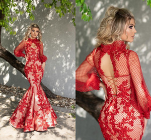 Sexy Graduation Gowns Red and White Mermaid Prom Dresses Long Sleeves Lace Appliqued Red Evening Dress For Women Party Night