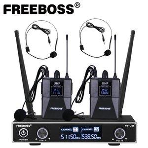 Freeboss FB-U35H2 Sistema de micrófono inalámbrico de frecuencia fija UHF con 2pcs Bodypack + 2pcs LavalierheadSet Speech MIC 201110