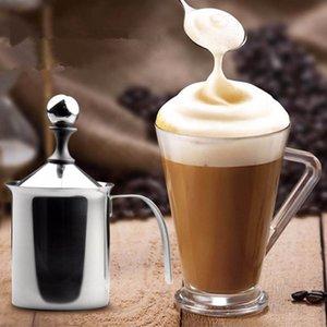 Original 400ml / 800ml Milk Milk Frother Acero inoxidable Malla doble Crema de leche Leche de espuma de espuma de espuma de café Crema de espuma Q0107