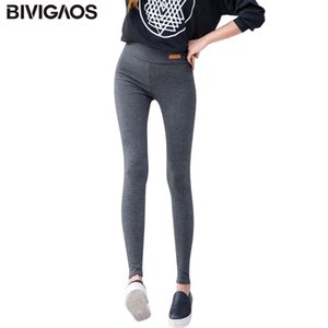 BIVIGAOS New Womens Casual Thicken Nine Pants Leggings Waist Leather Lable Elastic Cotton Leggings Pants Female Women Clothing Q1119