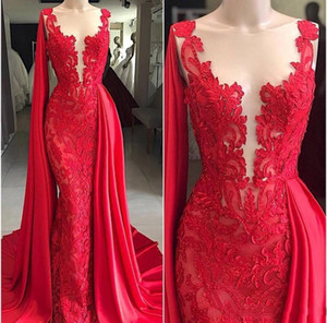 2021 Elegant Red Mermaid Evening Dresses Sheer Neck Lace Appliques Satin Overskirts Plus Size Formal Prom Gowns Red Carpet Party Dress