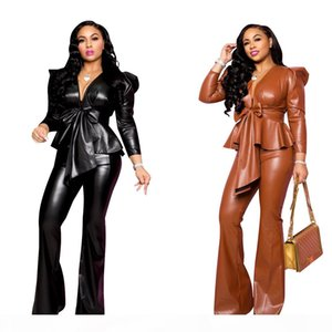 J1996 European and American cross-border women's clothing, sexy PU leather suit, women's jacket, 2 colors