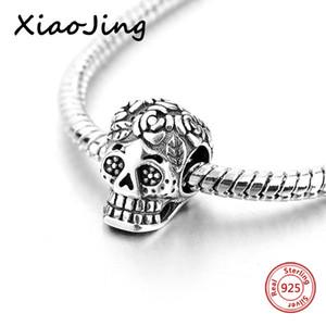 Xiaojing 925 sterling sier oxydation crâne charmes bracelets de perle de perle bracelet pour femme bijoux halloween cadeaux livraison gratuite
