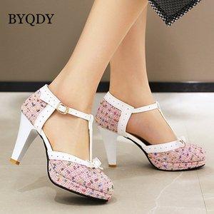 Byqdy Moda Spike Topuk Kadınlar Pompalar T-Strap Yuvarlak Ayak Platformu Ayakkabı Kadın Toka Kayış Ilmek Pompaları Kız Arkadaşlar için Pompalar C0202