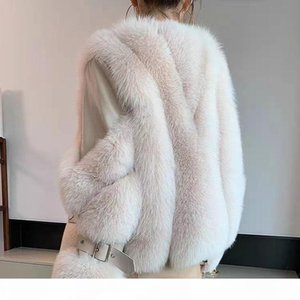 Women Winter Real Fur Coat Short Long Sleeve Natural Fur Jacket Outwear With Genuine Sheep Leather Thick Genuine