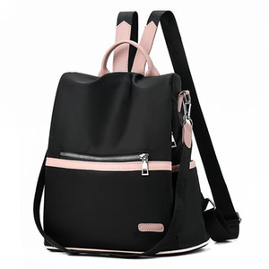 Women Black Waterproof Nylon School Bags for Teenage Girls High Quality Fashion Travel Tote 2020 Casual Oxford Backpack M374