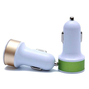 Dual USB Ports 2.1A Metal Car Charger Colorful Micro USB Car Plug USB Adapter For iPhone for Android Phone