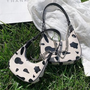 Cow Pattern Armpit Bags Design Shoulder New For Women 2020 Female Fashion Trend PU Half Leather Small Moon Bags Chain Handbags Fsbmt