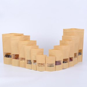 100pcs Brown Gift Kraft Paper Bag Zip Lock Food Snack Tea Bag Packing Retail Craft Paper Bag Food H jllJrt