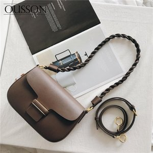OUSSON 2020 Fashionable and versatile, lightweight and soft leather large-capacity one-shoulder messenger small square bag