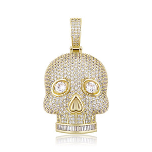 Hip Hop Necklaces Fashion 18K Gold Rhodium Plated Skull Head Necklaces Luxury Bling Zircon Men Women Necklaces