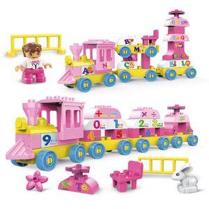 Duplo Train Station Friends for Girl Pink Number Coaster Building Blocks Duplo Figure Accessori Big Size Bricks Toy for Girls Q0123