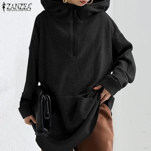 Fashion Solid Sweatshirt Women's Autumn Hoodies ZANZEA 2020 Casual Long Sleeve Pullovers Female Hooded Hoody Plus Size 5XL