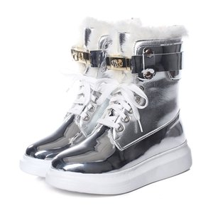 LEOSOXS High-Top Short Ankle Boots Women Winter Warm Shoes Plush Snow Boots For Women Black Sliver Sneakers Waterproof Boots 201215