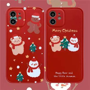 Ins red Christmas snowman applies apple 12promax phone case iphone11 couple 7 8plus xs