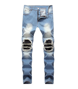 Men Stretch Skinny Jeans Male Designer Elastic Pants Ripped Hole With Pleaed Patch Trousers High Street Denim Jeans Men Hip Hop