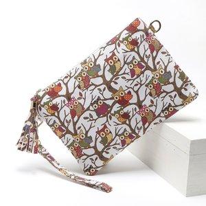 Épaissir hibou impression TASSEL TASSEL Diagonal Épaule Hand tenant Enveloppe Bandoulière Taille Sacs à la poitrine Fashion Femmes oreiller
