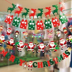 Christmas Decoration Supplies Christmas Pull Flag Pull Flower Triangle Flag Hanging Flag Shopping Window Decoration School Scene Display