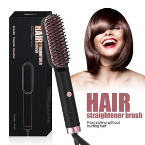 Plancha de pelo profesional Cepillo Barba Hot Comb Men Estilismo de Mujer Cerámica Cerámica Alisado Eléctrico Cepillo Peluquería Herramienta de peinado