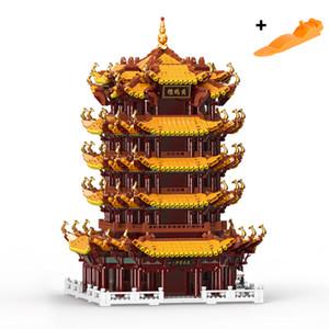 01024 Nuovo cinese Via genuino creativo della serie The Yellow Gru a torre modello alto di difficolta 'Building Blocks mattoni del giocattolo