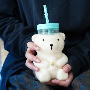 Draw bottle tulip water, transparent heat-resistant glass, creativity, a glass of milk, 550 ml