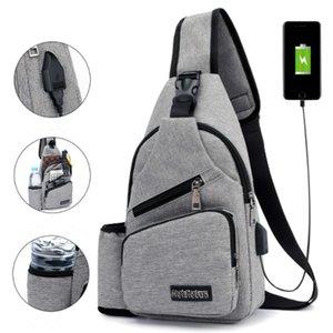 Unisex External USB Charge Chest Bags Male Men Chest Waist Pack Antitheft Travel Crossbody Bags For Men Sling Shoulder Bag 2020