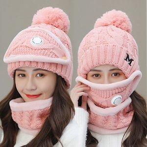 Invierno mujer sombrero Máscara de mujer conjuntillo de válvula de respiración Sombrero de lana Nuevo sombrero de punto cálido Ciclismo más Velvet Bufanda Set IIA911