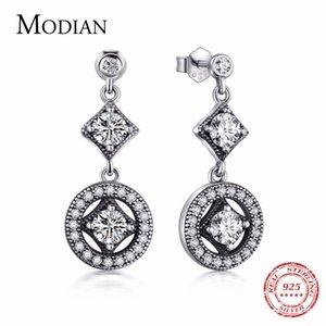 Modian Solid 925 Sterling Silver Classic Fashion Drop Earrings Cubic Zirconia VINTAGE Style For Women Date Long Earrings Jewelry Y1130