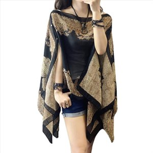 Summer Woman Plus Size 10 color Thin Flower Sunscreen Fabala Blouses Scarf Shawl Chiffon Cover Ups Loose Sun Protection Shawl