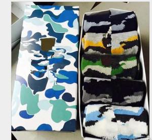 Novo Algodão Algodão Costurado Hip Hop Casual Sox Skate Long Socks Meios de Barco de Rua Masculino para Homens e Mulheres Camuflagem Meias Livre Navio