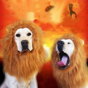 Party Pet Toy Halloween Hair Ornaments Pet Costume Cat Halloween Clothes Fancy Dress Up Lion Mane Wig for Large Dogs LXL1095-1