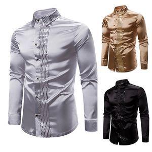 الرجال لامعة الفضة الترتر بريق مزين يتأهل قميص جديد رجل اللباس قمصان الزفاف حزب عارضة الذكور قميص
