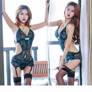 Conjunto de laço sexy pijamas conjunto cheongsam oco out ver através de roupa interior g corda t volta mulheres roupas 410014