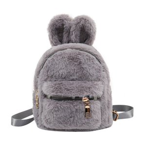 Bag Plush Faux Fur Rabbit Ears Kids Girls Children School Kindergarten Shoulder Mini Backpacks