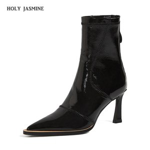 Autumn New Fashion Brand Women Pointed Toe Ankle Boots High Heels Ladies Shoes Woman Party Dancing Pumps Basic Leather Boots