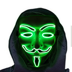 Flashing Luminous Halloween EL Mask for Halloween Festivals or Cosplay Party Supplies Masquerade Flash mask v face mask of vendetta