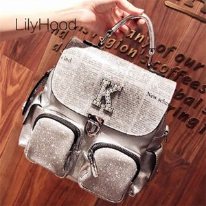 Iridescent Rhinestone Casual Women High Quality Sparkle Shiny Daily Knapsack Bag Female New Paper Printing Backpack Q1113
