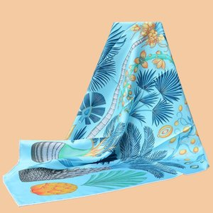 HuaJun 2 Store|| Cool color matching 90 Silk Square Scarf Twill Printed Scarf Hand Rolled Edge