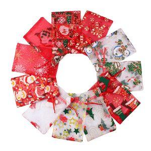 Christmas Organza Drawstring Bag Christmas Wedding Jewelry Packaging Pouches Xmas Pattern Candy Favors Organza Drawstring Bag New Year Z548