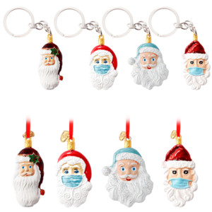 Christmas Tree Pendant Stereo Santa Hanging Pendant Epidemic Prevention Survivors Mask Snowman Key Chains Christmas Decorations