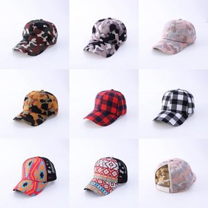 Women Ponytail Baseball Hat Adjustable Tucker Hat Leopard Knit Caps Buffalo Plaid Ponytail Caps HWB3431