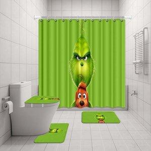 Vixm Grinch Bathroom Waterproof Shower Curtain Carpet Cover Toilet Cover Bath Mat Pad 4 Piece Set 3D Print Bathroom Decor Z1127