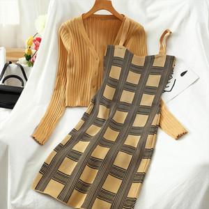2021 New Plaid Slim Fit Skirt Gonna a maniche lunghe Maglione corto Donne Two Piece Suittro temperamento Autunno TZ498