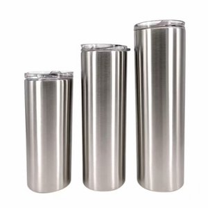 Skinny Tumbler Slim Straight Cup Beer Coffee Mug 304 Stainless Steel Insulation Vacuum Flask with Lid & Straw 15oz 20oz 30oz WB3117
