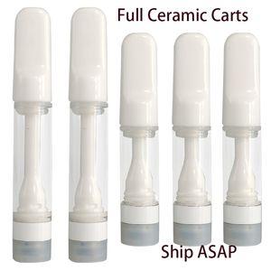 Full Ceramic Vapes Cartridges Vapes Carts Packaging 510 Vape Pens Ceramic Tip E Cigarette Cart 1.0   0.5ml 510 Cartridges Healthy Lead Free