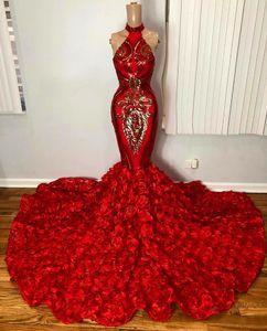 Elegant Red Mermaid Prom Dresses For Black Girl Africa Sparkly Gold Sequin Applique 3D Floral Formal Evening Gown vestidos largo