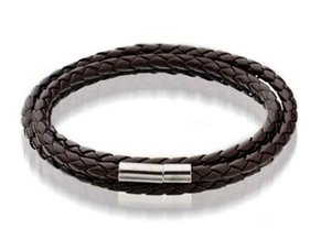 Mens Leather Bangle Bracelets Black brown Mesh Magnetic Stainless Steel Clasp Double Wrap Wristband Beautiful T jllMMn bde_jewelry